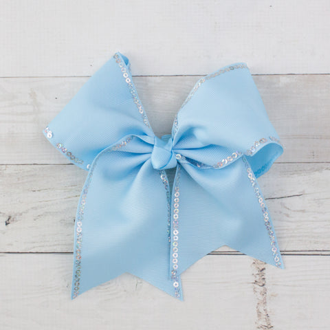 "7"" Sequin Lined Grosgrain Hair Bow Clip"