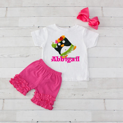 Luau Party Penguin - 3pc Personalized Graphic Shirt and Short Set