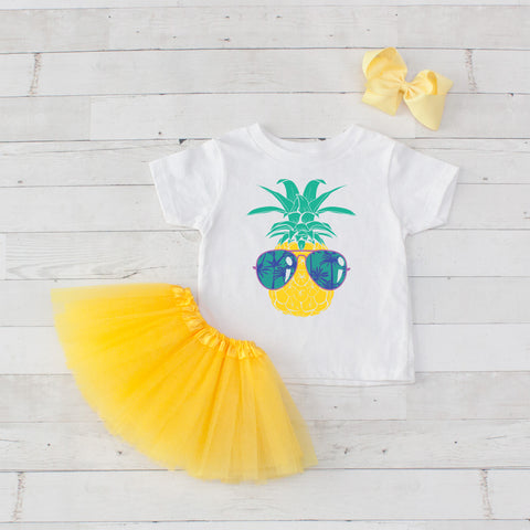 Cool Pineapple - 3pc Personalized Graphic Shirt and Tutu Set