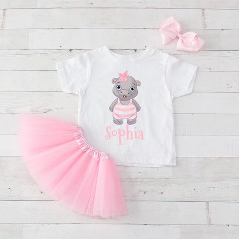 Pool Party Baby Hippo - 3pc Personalized Graphic Shirt and Tutu Set