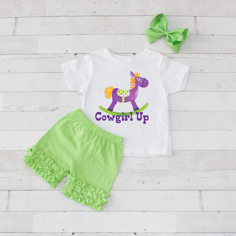 Lime Rocking Horse - 3pc Shirt and Short Set
