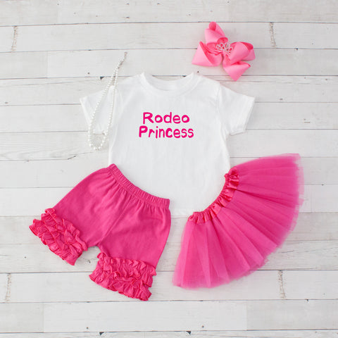 Hot Pink Rodeo Princess - 5pc Personalized Graphic Shirt, Tutu and Short Set