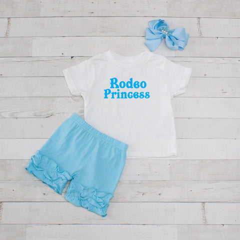 Light Blue Rodeo Princess - 3pc Shirt and Short Set