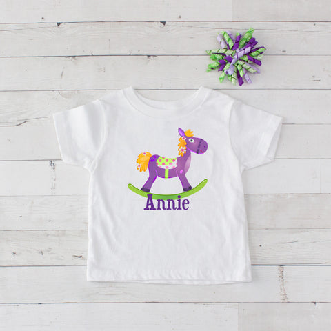 Purple Personalized Rocking Horse Graphic T-Shirt