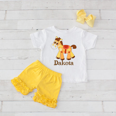 Patchwork Pony - 3pc Personalized Graphic Shirt and Short Set