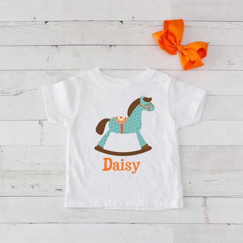 Teal Polka Dot Personalized Rocking Horse Graphic T-Shirt