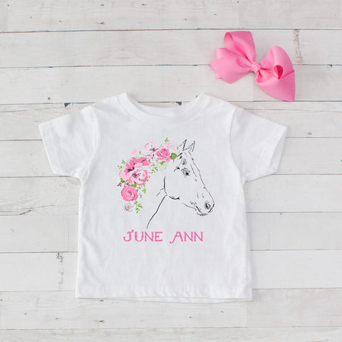 Personalized Pink Rose Horse Graphic T-Shirt