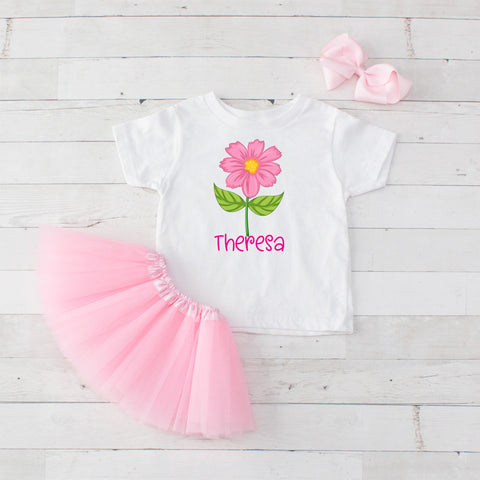 Big Pink Flower - 3pc Personalized Graphic Shirt and Tutu Set