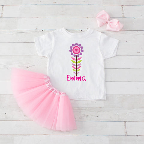 Purple Pastel Flower - 3pc Personalized Graphic Shirt and Tutu Set