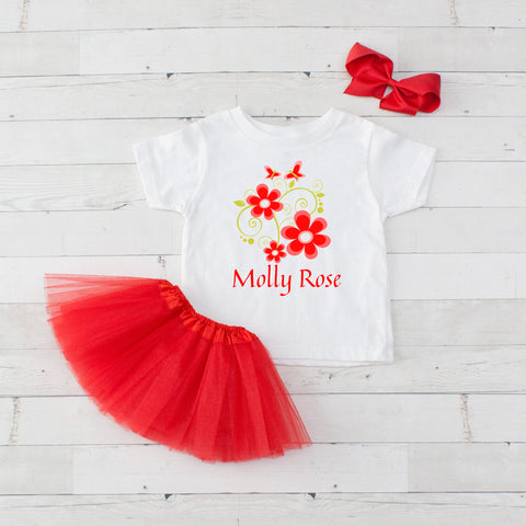 Red Flowers & Butterflies - 3pc Personalized Graphic Shirt and Tutu Set