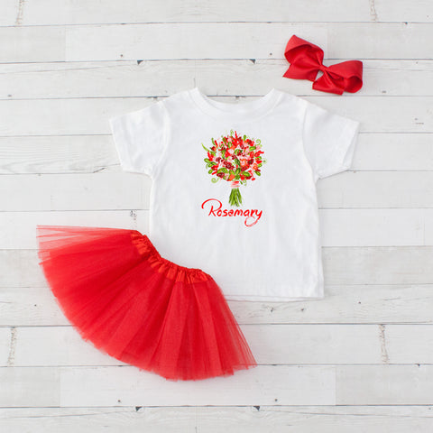 Red Floral Bouquet - 3pc Personalized Graphic Shirt and Tutu Set