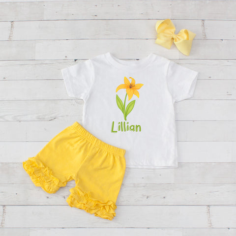 Yellow Lilly - 3pc Personalized Graphic Shirt and Short Set