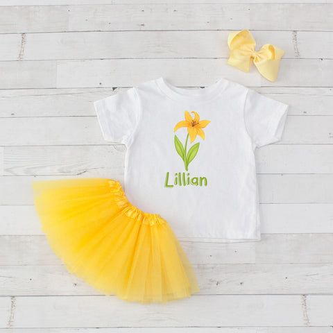 Yellow Lilly - 3pc Personalized Graphic Shirt and Tutu Set
