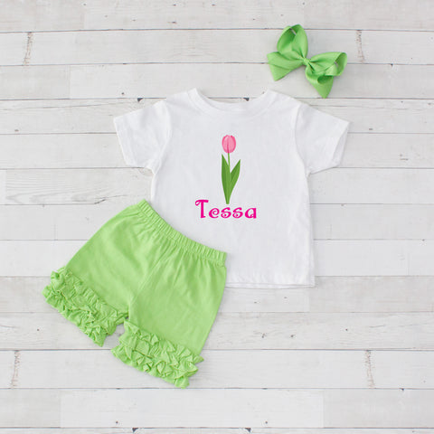 Pink Tulip - 3pc Personalized Graphic Shirt and Short Set