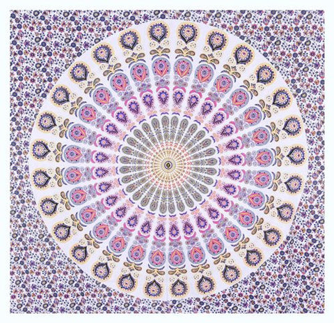"90"" Square Indian Mandala Beach Throw - Shades of Purple, Pink & Ivory Circle Pattern"