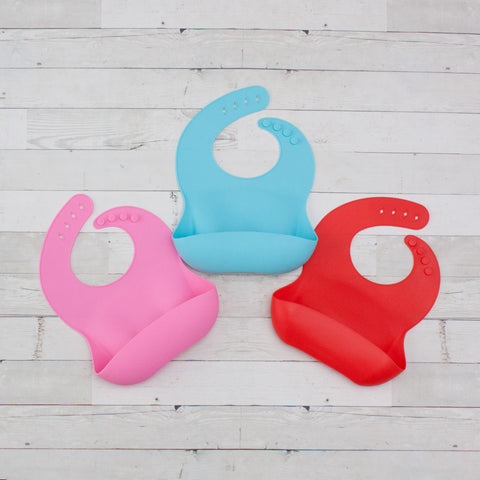 Waterproof Silicone Bib with Food Catcher - Easily Wipes Clean