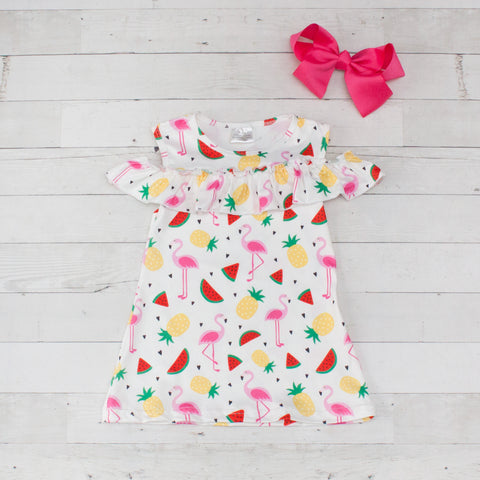 Girls Flamingo & Pineapple Print Cold Shoulder Dress