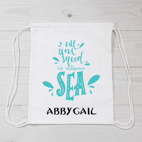 All You Need Is Vitamin Sea Personalized Canvas Bag