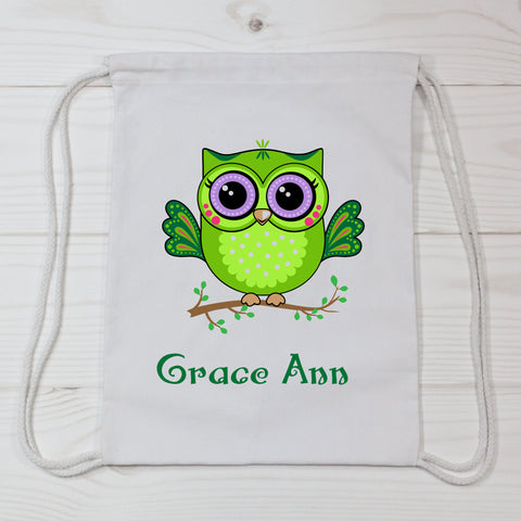 Lime Owl Personalized Canvas Bag