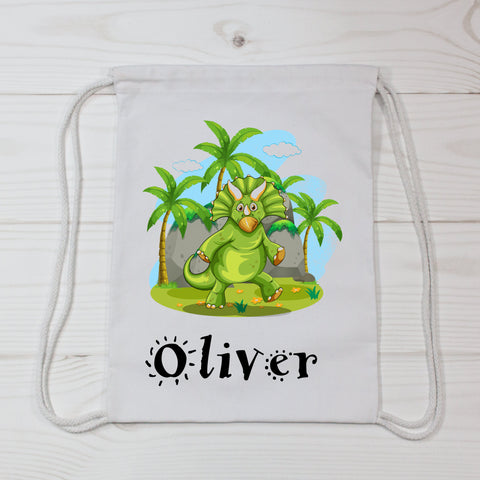 Personalized Green Dinosaur Canvas Bag