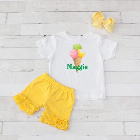 Ice Cream Cone Yellow - 3pc Personalized Graphic Shirt and Short Set