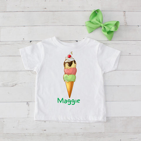 Three Scoops Cherry On Top Ice Cream Cone Graphic T-Shirt