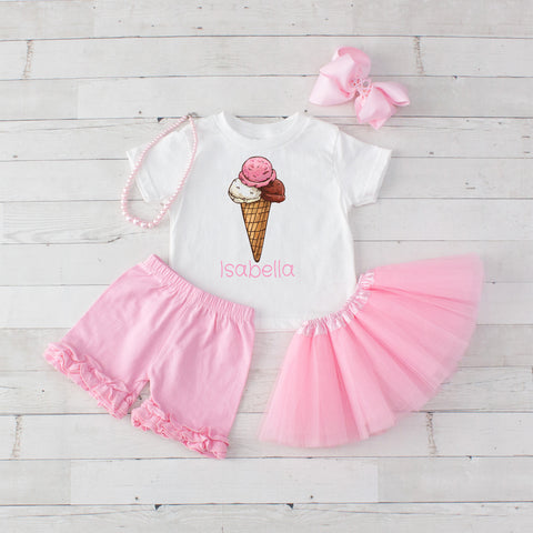Three Scoops Pink - 5pc Personalized Graphic Shirt, Tutu and Short Set