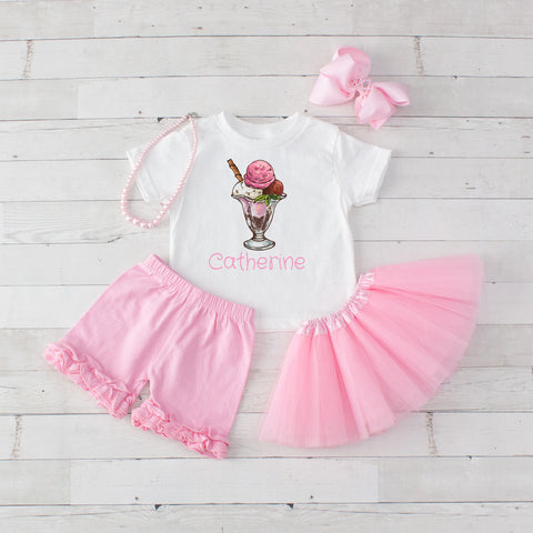 Ice Cream Sundae Pink - 5pc Personalized Graphic Shirt, Tutu and Short Set
