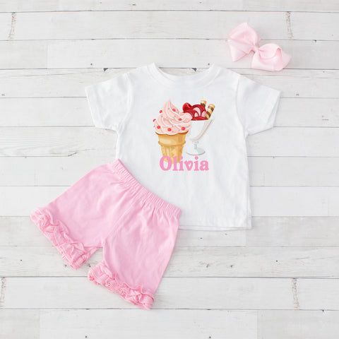 Pink Ice Cream - 3pc Personalized Graphic Shirt and Short Set
