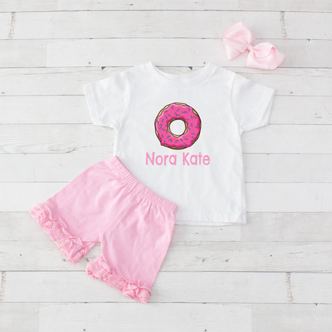 Hot Pink Donut - 3pc Personalized Graphic Shirt and Short Set