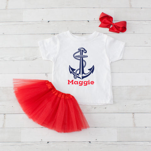 Anchor - 3pc Personalized Anchor Graphic Shirt and Tutu Set
