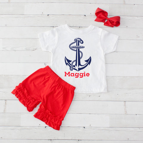 Anchor- 3 pc Personalized Anchor Graphic Shirt & Short Set
