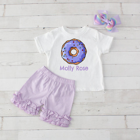 Lavender Donut - 3pc Personalized Graphic Shirt and Short Set
