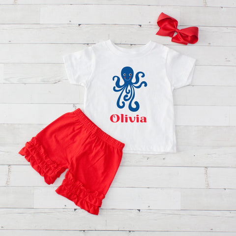 Octopus- 3 pc Personalized Octopus Graphic Shirt & Short Set