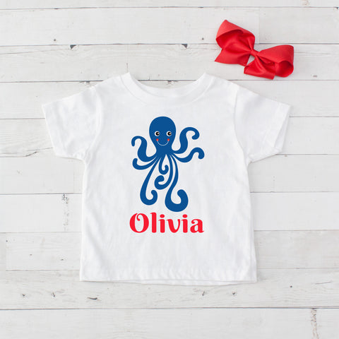 Happy Octopus Personalized Graphic T-Shirt