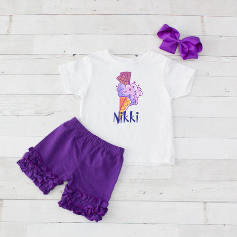 Purple Waffle Cone - 3pc Personalized Graphic Shirt and Short Set
