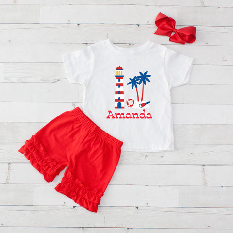 Lighthouse- 3 pc Personalized Lighthouse Graphic Shirt & Short Set