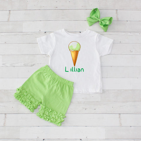 Lime Single Scoop Cone - 3pc Personalized Graphic Shirt and Short Set