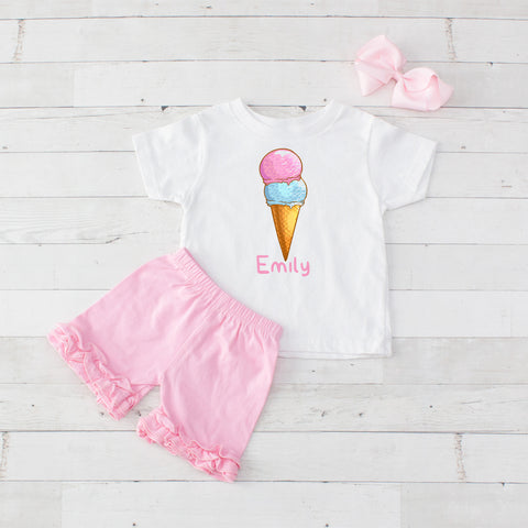 Pink Double Scoop Cone - 3pc Personalized Graphic Shirt and Short Set