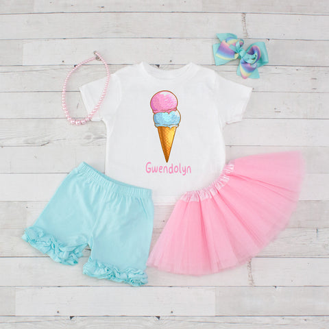 Two Scoops Pink & Light Blue - 5pc Personalized Graphic Shirt, Tutu and Short Set