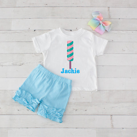 Light Blue Swirly Candy - 3pc Personalized Graphic Shirt and Short Set