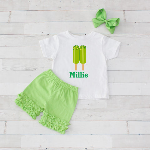 Lime Twin Pops - 3pc Personalized Graphic Shirt and Short Set