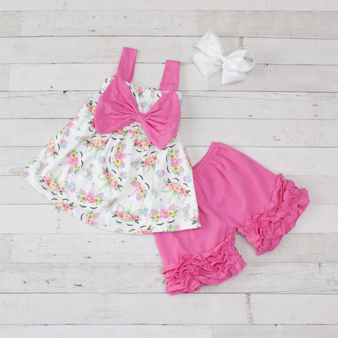 Girls Floral Unicorn Print Tank Top & Ruffle Short Set