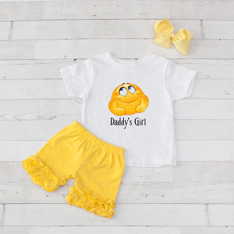 Daddy's Girl Happy Emoji 3pc Shirt and Short Set Yellow