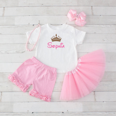 Personalized Crown - 5pc Personalized Graphic Shirt, Tutu and Short Set