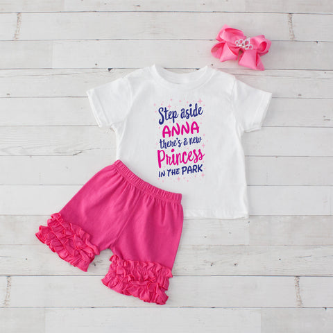 Step Aside Anna - 3 pc Park Princess Graphic Shirt & Short Set