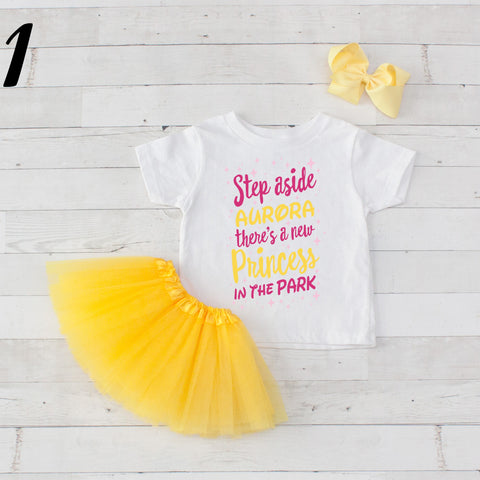 Step Aside Aurora - 3 pc Park Princess Graphic Shirt & Tutu Set