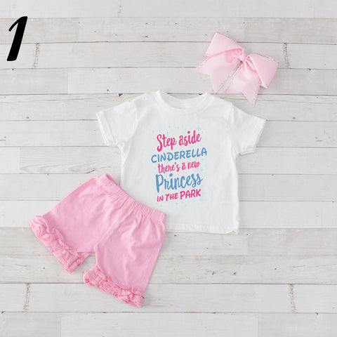 Step Aside Cinderella- 3 pc Park Princess Graphic Shirt & Short Set