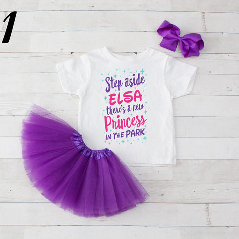 Step Aside Elsa - 3 pc Park Princess Graphic Shirt & Tutu Set