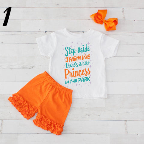 Step Aside Jasmine- 3 pc Park Princess Graphic Shirt & Short Set